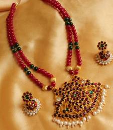 Buy BEAUTIFUL RUBY TEMPLE PENDANT NECKLACE SET Necklace online