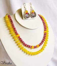 Buy Pink and Yellow Beads Necklace set necklace-set online