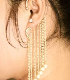 Buy Gold Pearl Dangler Ear Cuff Earring danglers-drop online