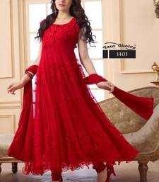Buy Designer red hot long anarkali suit By Fabfiza anarkali-salwar-kameez online