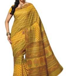 Buy Aria Yellow cotton printed summer collection saree ks369 cotton-saree online