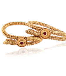 Buy Attractive sober Gold plated kundan bangle bangles-and-bracelet online