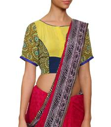 Buy Yellow and blue pure crepe readymade blouse readymade-blouse online