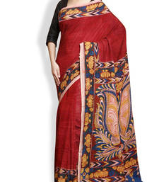 Buy Maroon multi embroidery pure crepe saree art-silk-saree online