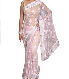 Buy Pink lace net saree with blouse net-saree online