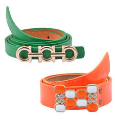 "Buy "" Floroscent Orange and Green Color"" Belt Combo For Womens gifts-for-sister online"
