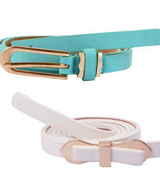 "Buy "" White and Blue Color"" Belt Combo For Womens gifts-for-sister online"