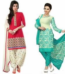 Buy Multicolor printed polycotton unstitched salwar with dupatta salwar-combo online