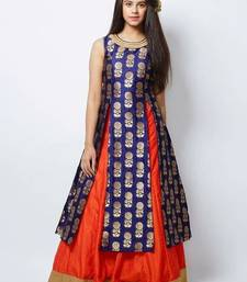 Buy new designer blue jacquard orange indo western style lehenga partywear dresses for girls(4 years-14 years) kids-frock online