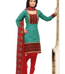 Buy Riti Riwaz green printed dress material with dupatta WC2007 dress-material online