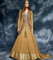 Buy Dark beige embroidered net semi stitched salwar with dupatta wedding-salwar-kameez online