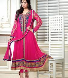 Buy Pink Color Georgette Salwar kameez semi-stitched-salwar-suit online