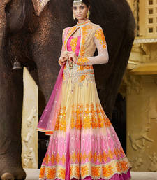 Buy Beige embroidered net unstitched lehenga ghagra-choli online