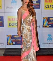 Buy Priyanka Bollywood Replica White Georgette Saree priyanka-chopra-saree online