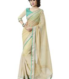 Buy Beige embroidered jute saree with blouse jute-saree online