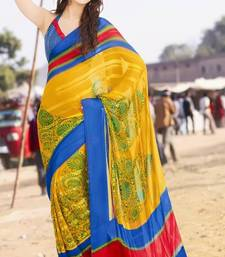 Buy Amber Yellow and Denim Blue Faux Georgette Printed Saree printed-saree online