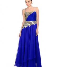 Buy Blue embroidered Georgette semi stitched evening-wear-dresses evening-wear-dress online