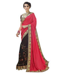 Buy Brown embroidered georgette saree with blouse wedding-saree online