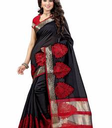 Buy Black plain cotton silk saree with blouse patola-sari online