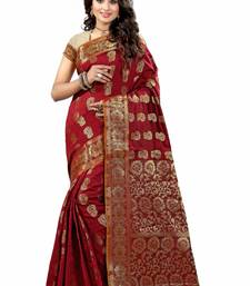 Buy Maroon plain cotton silk saree with blouse patola-sari online