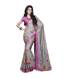 Buy Vishal Grey Art Silk Saree HiddenSecret32910 party-wear-saree online