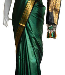 Buy Dark Green With Black & Zari Border banarasi Silk Saree with Fringes banarasi-silk-saree online