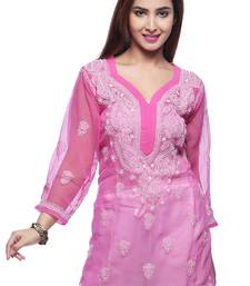 Buy Pink embroidered georgette kurtas-and-kurtis chikankari-kurti online