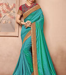 Buy Dark sea green embroidered art silk saree with blouse silk-saree online