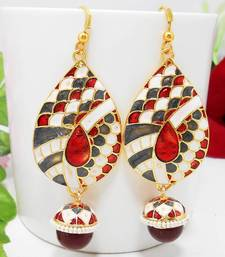 Buy Meenakari Designer Pendant Tokri Earring Pearl Grey Maroon danglers-drop online