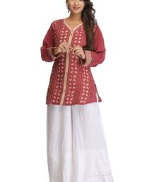 Buy Onion pink embroidered cotton kurtas-and-kurtis chikankari-kurti online