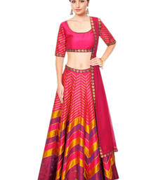Buy Multicolor embroidered art silk unstitched lehenga punjabi-lehenga online