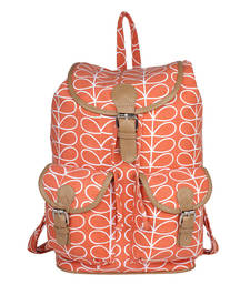 Buy Peach Canvas with PU Flap Lara Backpack backpack online