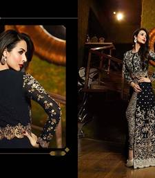 Buy Black embroidered georgette semi stitched salwar with dupatta malaika-arora-khan online