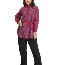 Buy Purple embroidered cotton kurtas-and-kurtis tunic online