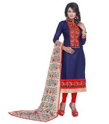 Buy Blue embroidered cotton unstitched salwar with dupatta dress-material online