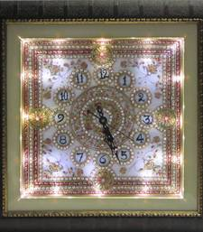 Buy eCraftIndia Stone Studded Designer Wall Clock with LED and Wooden Frame wall-clock online