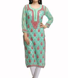 Buy Green embroidered georgette ethnic-kurtis chikankari-kurti online
