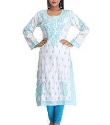 Buy White embroidered cotton ethnic-kurtis chikankari-kurti online