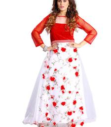 Buy White and red embroidered net semi stitched party wear gowns evening-wear-dress online