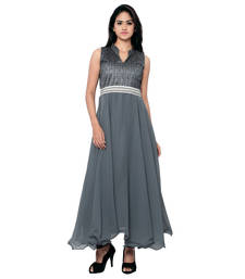 Buy Grey printed georgette semi stitched party wear gowns evening-wear-dress online