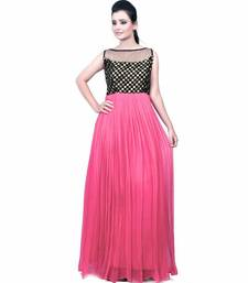 Buy Pink plain georgette semi stitched party wear gowns evening-wear-dress online