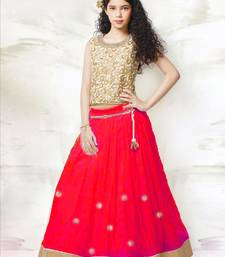 Buy red embroidery net semi stitched kids lehenga kids-lehenga-choli online