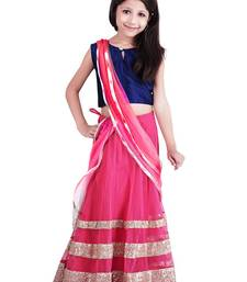 Buy pink embellished net semi stitched kids lehenga kids-lehenga-choli online