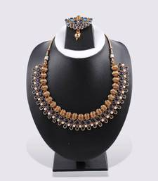 Buy Navy Blue 3-layered Necklace & Earring necklace-set online