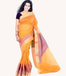Buy Cotton fancy banarasi aanchal border saree cotton-saree online