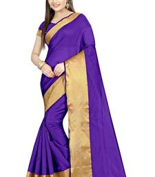 Buy Purple Plain cotton poly saree with blouse indian-dress online