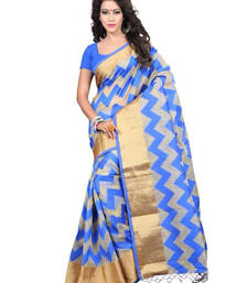 Buy Blue color tussar silk saree with blouse tussar-silk-saree online