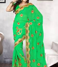 Buy Attractive Light Green Faux Chiffon Party Wear Saree with Blouse chiffon-saree online