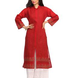 Buy Red embroidered cotton ethnic-kurtis ethnic-kurti online