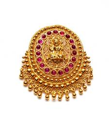 Buy Anvi's oval shaped lakshmi (temple locket) with rubies Pendant online